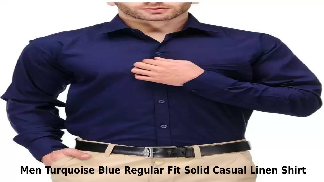 Men Turquoise Blue Regular Fit Solid Casual Linen Shirt