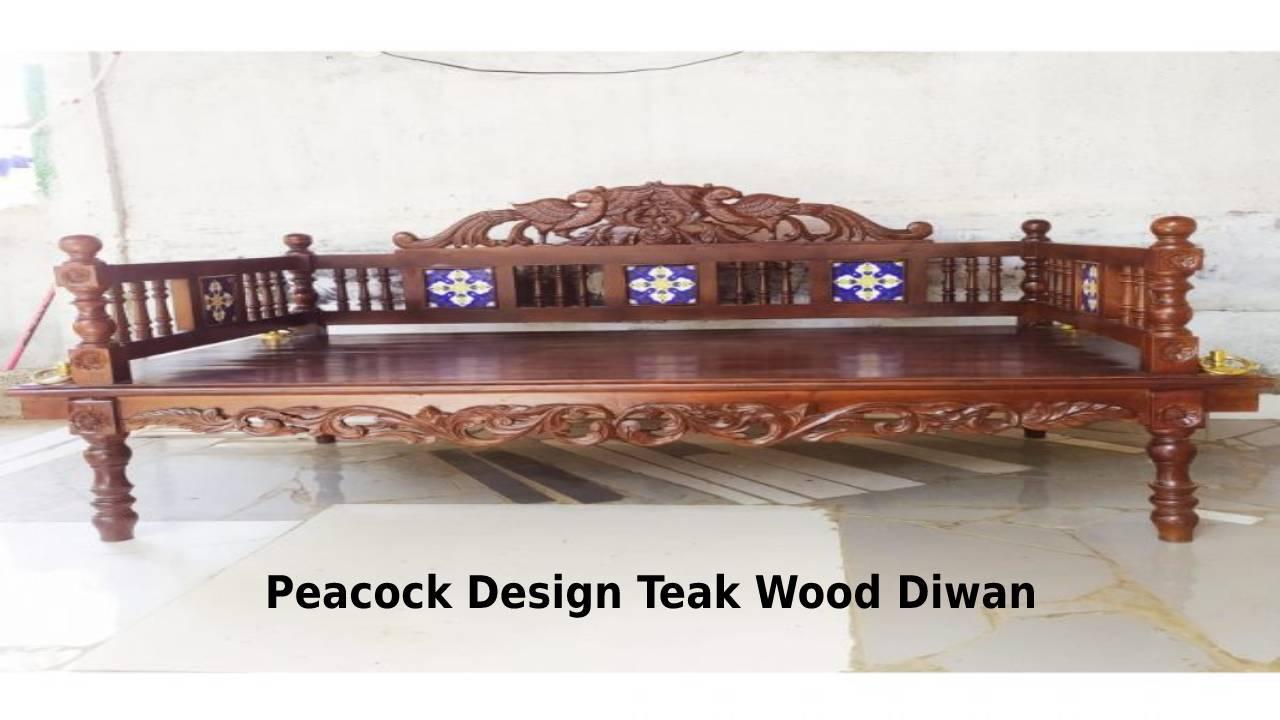 Peacock Design Teak Wood Swing Cum Diwan